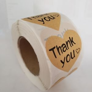 500 pieces Heart Kraft Thank you stickers